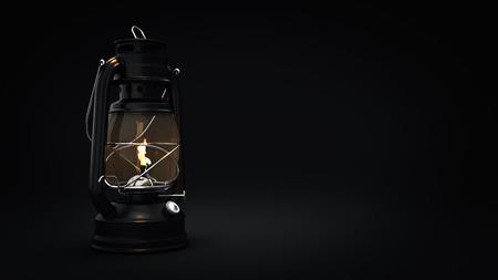 scintillating: Burning kerosene lamp background, lighting concept. 3d rendering