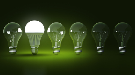 Glowing LED bulb and simple light bulbs. 3d rendering Banco de Imagens