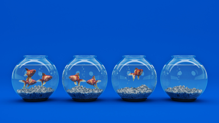 Goldfish in aquarium. 3d rendering