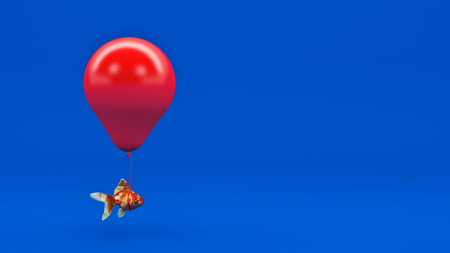 gold fish: Gold fish flying away from a fishbowl with the help of a balloon. 3d rendering