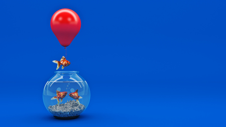 think tank: Gold fish flying away from a fishbowl with the help of a balloon. 3d rendering