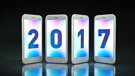 turns of the year: Smartphone 2017. Represents the new year 2017. 3d rendering Stock Photo