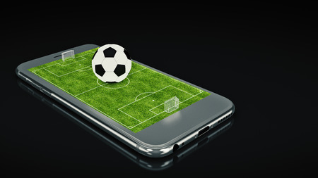 smart goals: Mobile Soccer. Football field and ball on the smartphone screen. Online ticket sales concept. 3d rendering