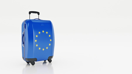 concep: Travel to European Union concep. Suitcases with European Union flag on a white background. 3d rendering Stock Photo