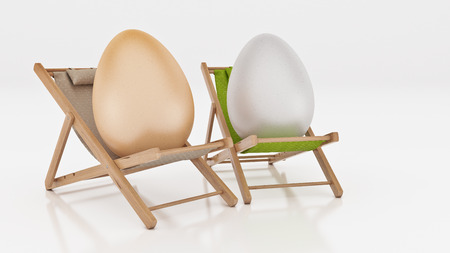 lay down: egg with lay down on summer beach chair isolated on white, abstract background for Easter holiday concept. 3d rendering