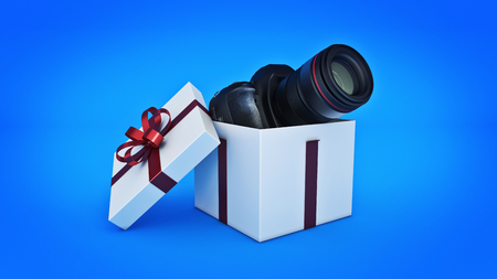 shipped: Photo camera in gift box, Gift box concept. 3d rendering Stock Photo