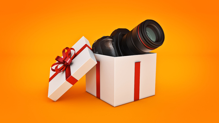 Photo camera in gift box, Gift box concept. 3d rendering Stock Photo