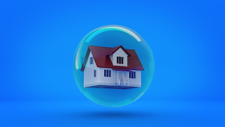 devaluation: House in a bubble fly in the air. 3d rendering Stock Photo