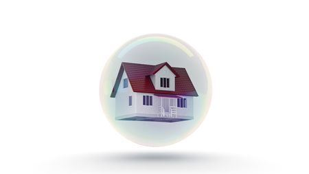 overvalued: House in a bubble fly in the air. 3d rendering Stock Photo