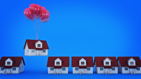 Balloons Raising Up an Isolated House. 3d rendering Banco de Imagens