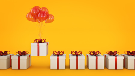 floating balloons attached to a present. balloon with gift box. 3d rendering Stok Fotoğraf