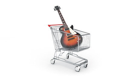 Electric guitar in shopping cart concept. 3d rendering Stock Photo