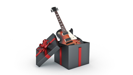 Electric guitar. Gift box concept. 3D rendering