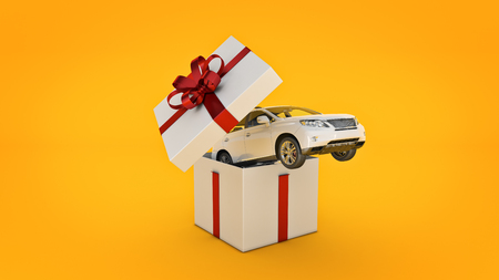 car SUV coupe. Gift box concept. 3D rendering