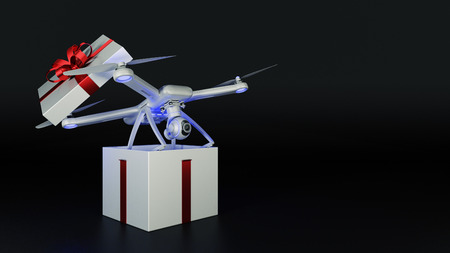 drone, quadrocopter, with photo camera flying. Gift concept. 3D rendering