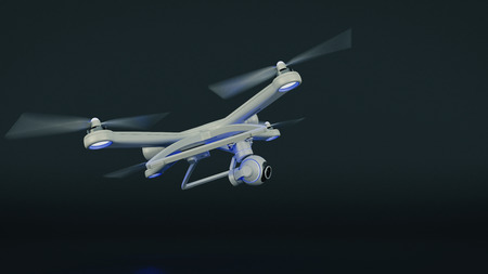 delivery room: drone, quadrocopter, with photo camera flying in the blue sky. 3d rendering