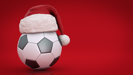 Christmas concept. soccer ball. 3d rendering Stock Photo