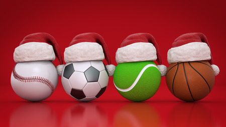 Christmas concept. Sports balls. 3d rendering
