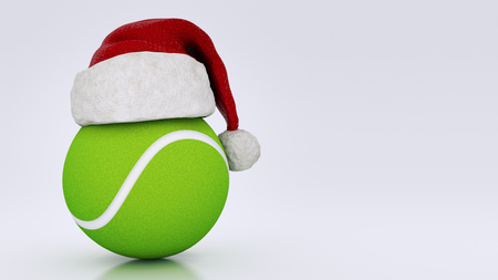 Christmas concept. tennis ball. 3d rendering Stock Photo