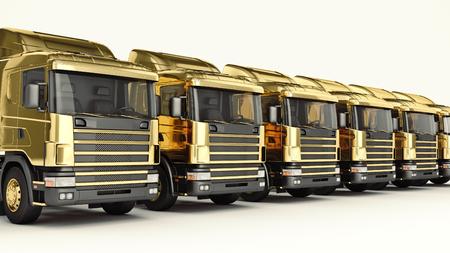 white truck. 3D rendering Stock Photo