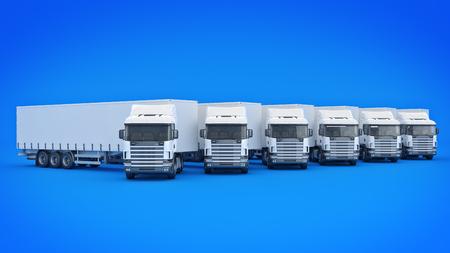 customizable: white truck. 3D rendering Stock Photo