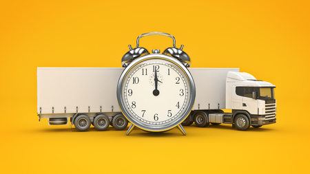 white truck with clock. 3D rendering Stock Photo