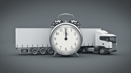 safety slogan: white truck with clock. 3D rendering Stock Photo