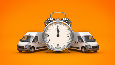 Clock and White Truck-Fast shipping. 3D rendering Stock Photo