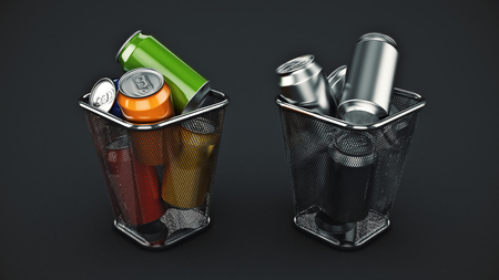 Recycling concept: drink cans in the trash bin. 3d rendering Foto de archivo