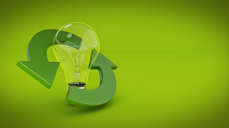 recycle sign with light bulb. 3d rendering