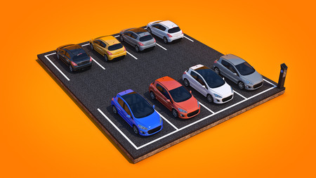 cars in parking lot. 3d rendering Stock Photo
