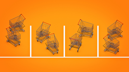 payable: Shopping cart in parking. 3d rendering