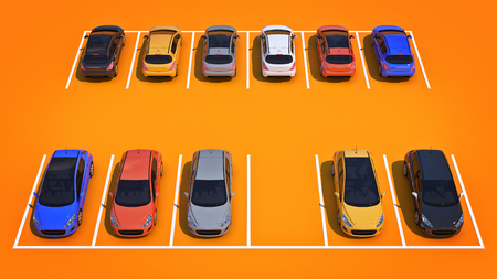 vacant land: cars in parking lot. 3d rendering Stock Photo