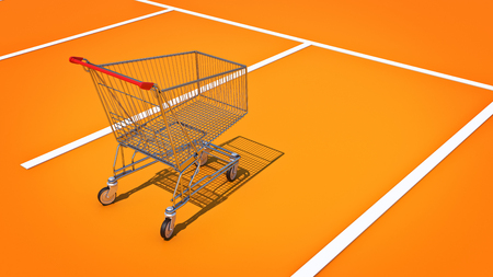 Shopping cart in parking. 3d rendering