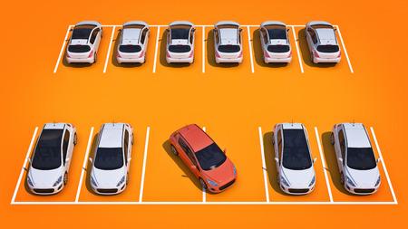 駐車場に運転が下手。3 d レンダリング 写真素材