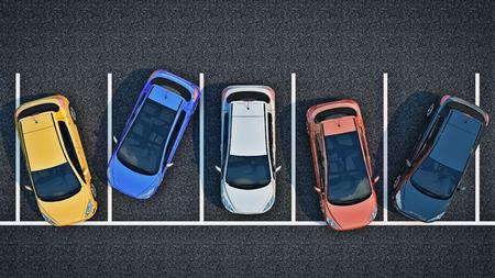 Zły kierowca na parkingu. renderowanie 3d
