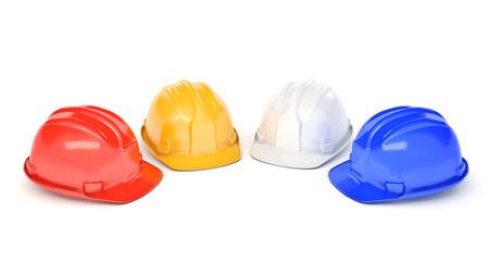 gewerkschaft: Various hard hats, safety helmets. 3D rendering Lizenzfreie Bilder