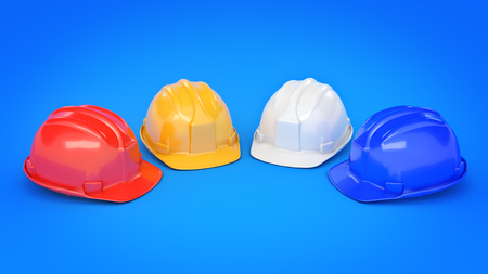 Various hard hats, safety helmets. 3D rendering Stock Photo