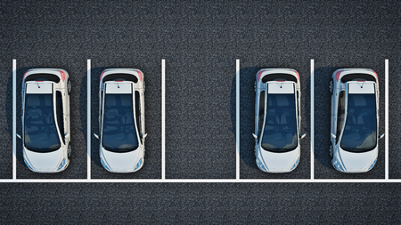 unoccupied: cars in parking lot. 3d rendering Stock Photo