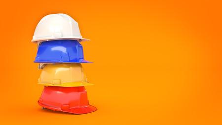 Various hard hats, safety helmets. 3D rendering Zdjęcie Seryjne
