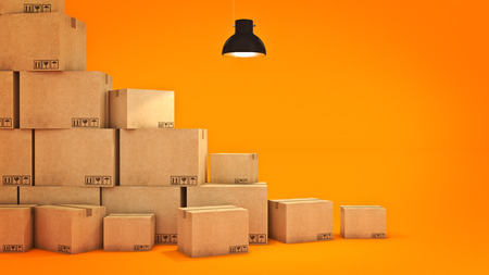 New home concept. Boxes in empty room 3D Stock Photo