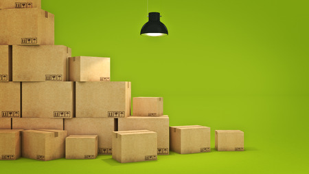 processions: New home concept. Boxes in empty room 3D Stock Photo
