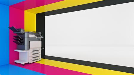 Konzept von vier. Farbdruck 3D-Rendering