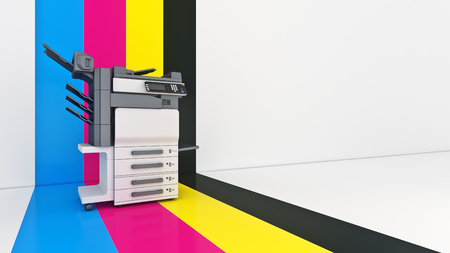 Concept of four. Color printing. 3d rendering
