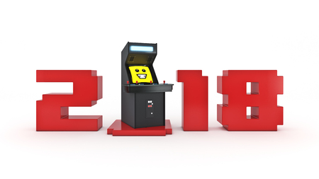 peripherals: Vintage arcade game concept machine 2018 New Year. 3D rendering Stock Photo