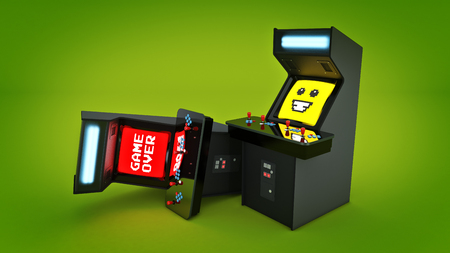 peripherals: Vintage arcade game machine concept game over. 3D rendering Stock Photo