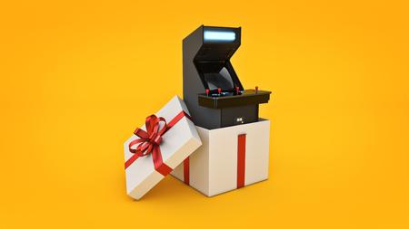 Vintage arcade game machine. Gift box concept. 3D rendering