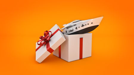 3d boat: Yacht, luxury boat. Gift box concept. 3D rendering Stock Photo