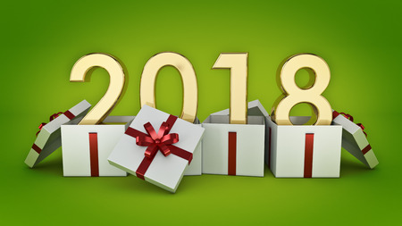 Gift box New Year 2018. 3d rendering