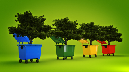 reusing: Garbage containers with tree
